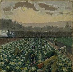 Evelyn Dunbar, 'Picking Sprouts - Monmouthshire' (Manchester Art Gallery) Women's Land Army