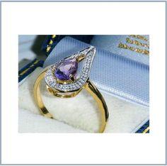 ANILLO DE BODA EN ORO 9K.TIMBRADO CON AMATISTA Y DIAMANTES(DESCRIPCIÓN INTERIOR) in Relojes y joyas, Vintage y joyería antigua   eBay