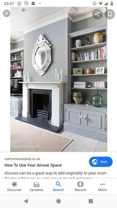 Home Living Room, Living Room Decor, Grey Fireplace, Tall Cabinet Storage, Architecture Design, Family Room, Art Deco, Interior Design, Furniture