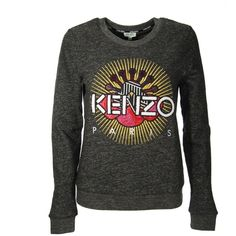 Kenzo Grey Paris Sweater ($215) ❤ liked on Polyvore featuring tops, sweaters, grey, kenzo sweater, grey top, kenzo, round neck top and gray top