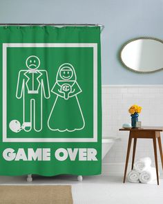Game Over Marriage Shower Curtain
