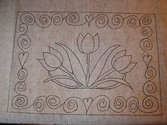 3 Tulips Primitive Rug Hooking Pattern On Gridded Trace Fabric Hooked Hook