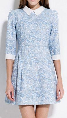 Peter Pan Collar | Jacquard Embellished Dress.