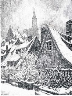René Allenbach Un hiver à Strasbourg Encre de Chine