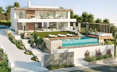 Villa in La Alqueria, Benahavis. Great opportunity to acquire a wonderful contemporary style turnkey villa built on a superb plot on the front line of . New House Plans, Modern House Plans, Modern Villa Design, Modern Mansion, Luxury Homes Dream Houses, Beautiful Villas, Home Landscaping, Facade House, Home Design Plans