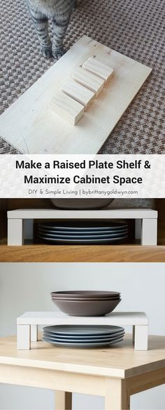Make a Raised Plate Shelf & Maximize Cabinet Space