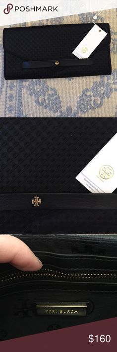 NWT Authentic Tory Burch Black Embossed Clutch Tag has been cut off. Envelope Clutch with zip pocket and card holder and Tory print inside purse. Evening clutch Tory Burch Bags Clutches & Wristlets