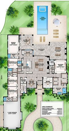 House Plan - Contemporary Plan: Square Feet, 5 Bedrooms, - House Plans, Home Plan Designs, Floor Plans and Blueprints Best House Plans, Dream House Plans, Modern House Plans, Small House Plans, House Floor Plans, House Plans With Pool, Casas The Sims Freeplay, Greys Anatomy Br, Modern Farmhouse Plans