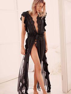 Talk about a dramatic entrance. | The Victoria's Secret Designer Collection Chiffon Ruffle Robe