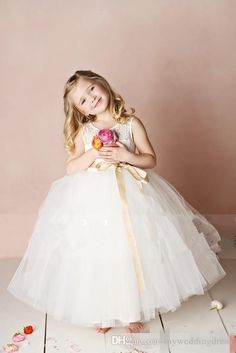 Children Little Girl Pageant Dress Lace Ivory 2016 Junior Flower Girls Dresses For Weddings Tulle Kids Long Floor Length Gowns FlowerGirl Online with $83.67/Piece on Brucesuit's Store | DHgate.com