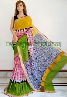 *******TAPASYAA CREATIONS****** Block print on kerala cotton Blouse: with bp For more details visit at https://www.facebook.com/tapasyaacreations/