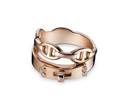 """Kelly Hermes double tour ring in rose gold. 4 diamonds, .02 total carat weight, size 46<br><br><span style=""""color: #F60;"""">This item may have a shipping delay of 1-3 days.</span><br><br>"""