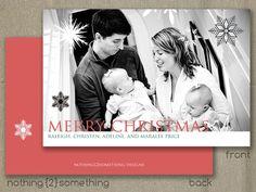 Printable Christmas Card-Custom Family/Black and White Snow. $15.00, via Etsy.