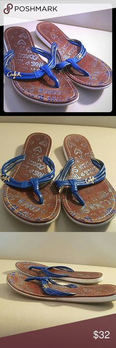 Coach Blue Leather Thong Flip Flops 100% authentic Coach flipflops! These are in good used condition and show  minimal and average signs of wear. They are some if the most comfortable shoes that I have worn. Please see the pictures and ask any questions that you might have Coach Shoes Sandals