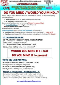 """DO YOU MIND...? / WOULD YOU MIND...? What's the difference between saying """"Do you mind...?"""" and """"Would you mind...? Have a look at the grammar sheet below to find out."""