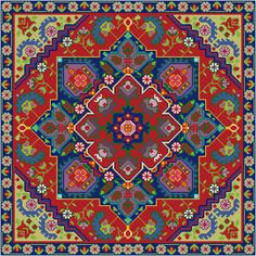 This cross stitch pattern features a design taken from a vintage Persian rug