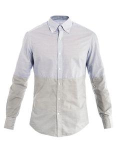 Michael Bastian Contrast half-stripe shirt.
