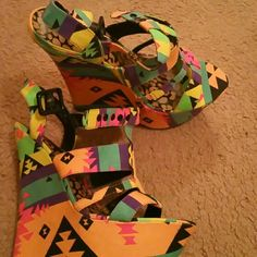 DOLL HOUSE Neon wedges Bright summer multi color wedges Dollhouse Shoes Wedges