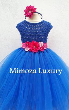 Royal Blue vestito ragazza di fiore zaffiro blu di MimozaLuxury