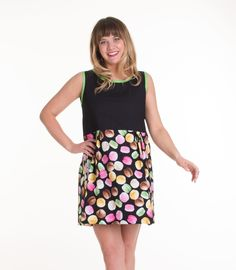 Yes, we have designed a dress with Macarons. This colorblock dress features French cookies with lime green trim. This is a party dress for a girl that likes to have fun. The Macaron Dress — The Print Dress (http://www.theprintdress.com/dresses/the-macaron-dress)