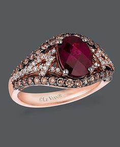 Le Vian 14k rose gold and garnet ring