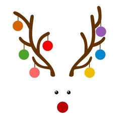 Christmas Ornaments Bulbs Reindeer Deer Cuttable Design PNG DXF SVG & eps File for Silhouette Cameo and Cricut Christmas Rock, Christmas Canvas, Christmas Shirts, Christmas Holidays, Christmas Decorations, Simple Christmas, Christmas Doodles, Christmas Drawing, Illustration Noel