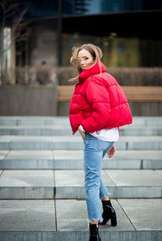 red puffy jacket outfit