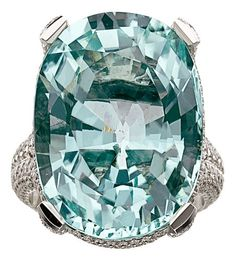Estate Ring with a Stunning Paraiba Tourmaline and Diamond in White Gold
