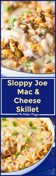 Sloppy Joe Mac & Cheese Skillet combines TWO of your favourite comfort foods in one fast & easy skillet dinner! Forget the sloppy joe buns, mac & cheese is where it's at! Recipe from Easy Pasta Recipes, Supper Recipes, Pork Recipes, Cooking Recipes, Budget Recipes, Drink Recipes, Recipe Pasta, Easy Skillet Dinner, Skillet Dinners