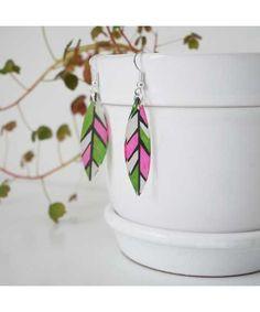 Stromanthe leaf earrings