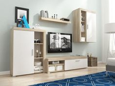 Meblościanka OLI - sonoma/biały mat  #furniture #salon #TVset #moderntfurniture #modern #polskiemeble #meble #sklepmeble