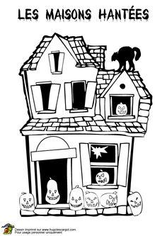 Une vieille maison hant e colorier coloriages et - Dessin de maison hantee ...