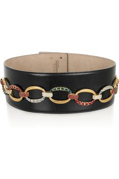 Alexander McQueen|Crystal and chain-embellished leather belt|NET-A-PORTER.COM