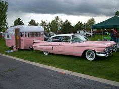 Pink Cadillac and matching trailer Retro Trailers, Tiny Trailers, Vintage Travel Trailers, Camper Trailers, Old Campers, Retro Campers, Vintage Campers, Glam Camping, Camping Glamping