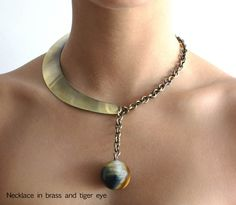 Necklace |  Art Smith.  Brass with Tiger Eye.
