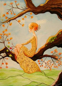 Woman in Tree with Orange Flowers by Audry Ficociello