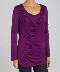 Love this Plum Burnout Drape Tunic - Plus by Celeste on #zulily! #zulilyfinds