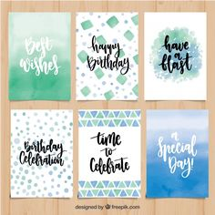 Abstract birthday card collection with phrases Free Vector Abstrakt bursdagskortsamling med fraser Gratis vektor Happy Birthday Clip Art, Creative Birthday Cards, Birthday Clips, Birthday Crafts, Handmade Birthday Cards, Happy Birthday Cards, Birthday Card Drawing, Watercolor Birthday Cards, Birthday Card Design