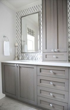 Dreaming of an extravagance or designer master bathroom? We have gathered together plenty of gorgeous master bathroom tips for small or large budgets, including baths, showers, sinks and basins, plus bathroom decor some ideas. Bathroom Renos, Bathroom Renovations, Home Remodeling, Bathroom Ideas, Bathroom Storage, Bathroom Makeovers, Bathroom Designs, Master Bathrooms, Bathroom Organization