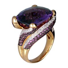 Gorgeous Rose Gold, Amethyst, & Diamond Ring