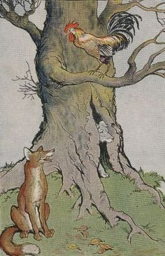 5. THE DOG, THE COCK, AND THE FOX (Aesop for Children, 1919)