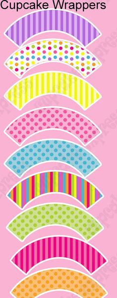 INSTANT DOWNLOAD diy Candy Shoppe  Birthday Party  PRINTABLE Cupcake Wrappers pink green yellow blue via Etsy