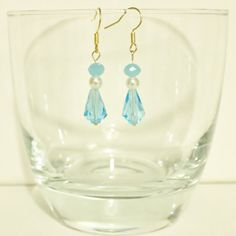 Your place to buy and sell all things handmade Pearl Earrings, Drop Earrings, Blue Crystals, Aqua Blue, Color Pop, Buy And Sell, Handmade, Stuff To Buy, Etsy