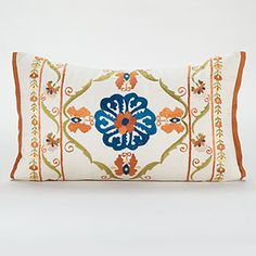 Calcutta Embroidered Lumbar Toss Pillow at Cost Plus World Market