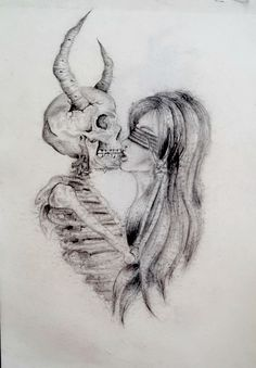 #drawing #pencil #kiss #devil #satan #skeleton #woman