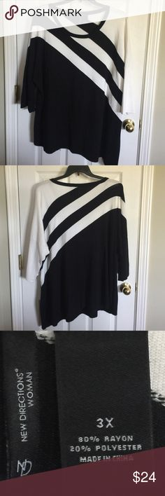 NWOT Stunning lightweight sweater top Striking diagonal stripes. One sleeve black. One sleeve white. new directions Tops