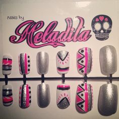 Nails By Heladita © - Neon Aztec get them at www.heladita.nl