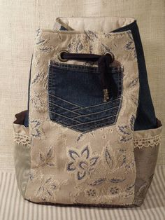 Boho Backpack Gypsy Large Sling Bag Denim Bag by WhimsyEyeDesigns, $68.00