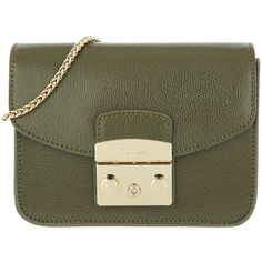 Furla Shoulder Bag - Metropolis Mini Crossbody Salvia C - in green -... ($285) ❤ liked on Polyvore featuring bags, handbags, shoulder bags, green, furla shoulder bag, green crossbody, crossbody purses, mini shoulder bag and cross-body handbag
