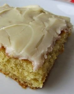 "White Texas Sheet Cake - It is cake flavored. Stop for a second and imagine the flavor ""birthday cake"" and that is what this is. And the frosting is like the most incredible vanilla fudge with a rich hint of milk. It's bliss. Seriously, best cake ever."